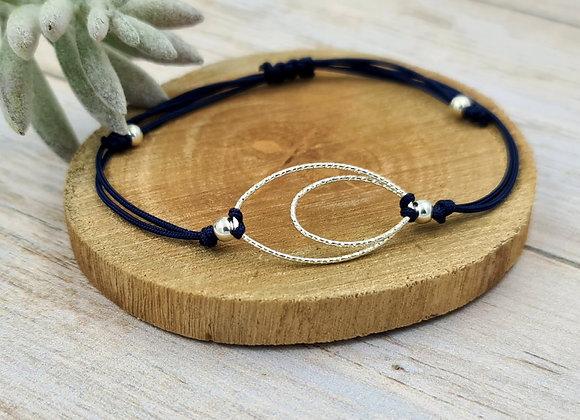 Bracelet cordon  - intercalaire anneaux ovales entrelacés en argent