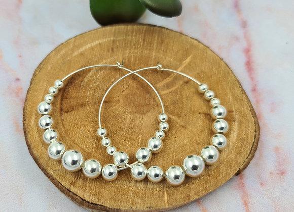 Grandes créoles argent 925 - perles rondes