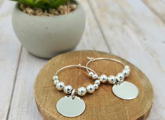 Boucles créoles - perles rondes argent 925 et pendentif médaille