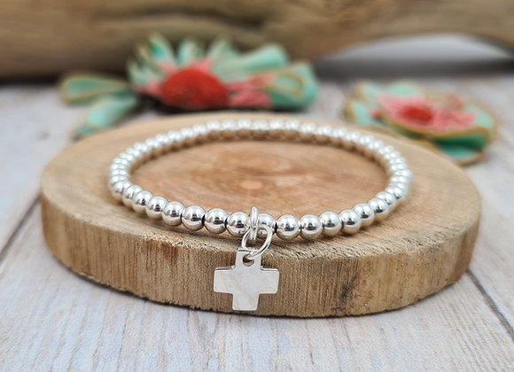 Bracelet argent - Perles 4mm - pendentif croix
