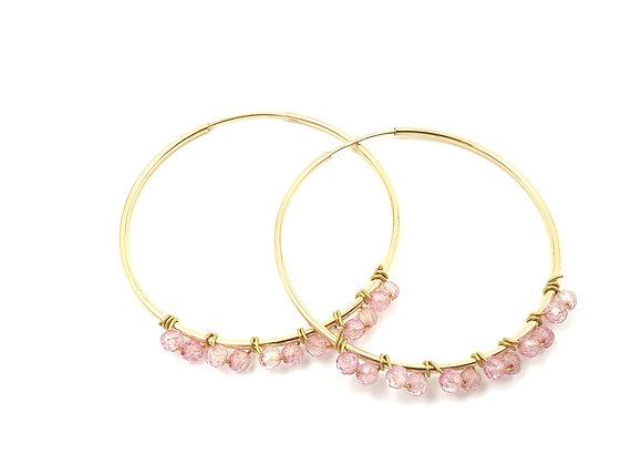 Créoles gold filled - rondelles de Quartz rose facettées