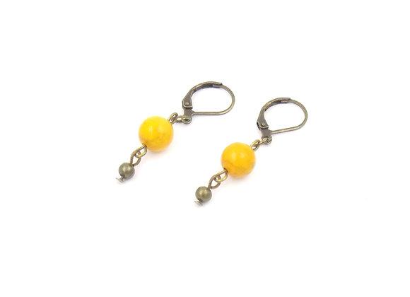 NINE - Boucles d'oreilles laiton et Howlite jaune