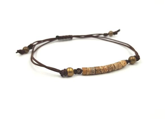 Bracelet cordon réglable et rondelles de Jaspe paysage