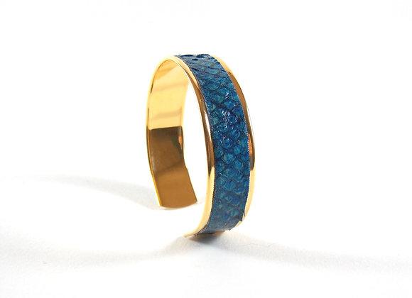 BAÏNES - Cuir de mulet bleu aux reflets bronze (15 mm)