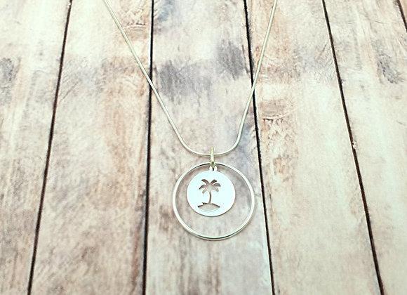Collier argent 925 - pendentif palmier