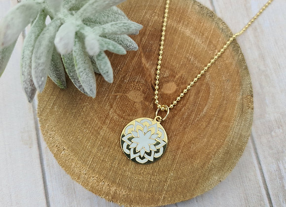 Collier court gold-filled pendentif mandala