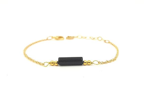 CALI Noir-  Bracelet gold filled et perle cylindrique d'Onyx