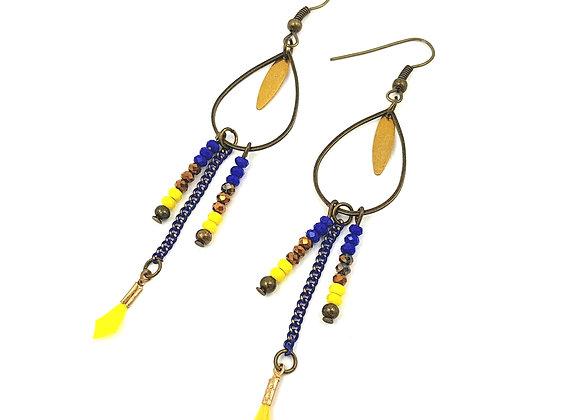 PLUMES Boucles d'oreilles bleu roi et jaune