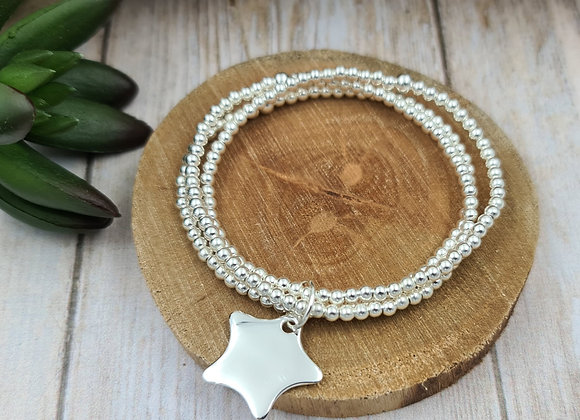Bracelet argent 925 - 3 rangs - perles 3mm -  étoile bombée 21mm