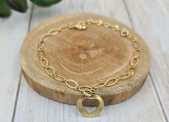 Bracelet gold filled et pendentif cœur