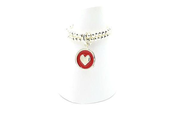 Bague argent 925 double rang et pendentif émail rouge motif coeur