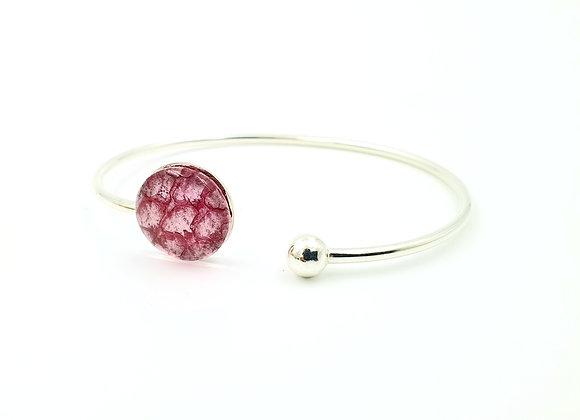 Bracelet jonc flexible argent 925 et cuir de saumon rose fushia