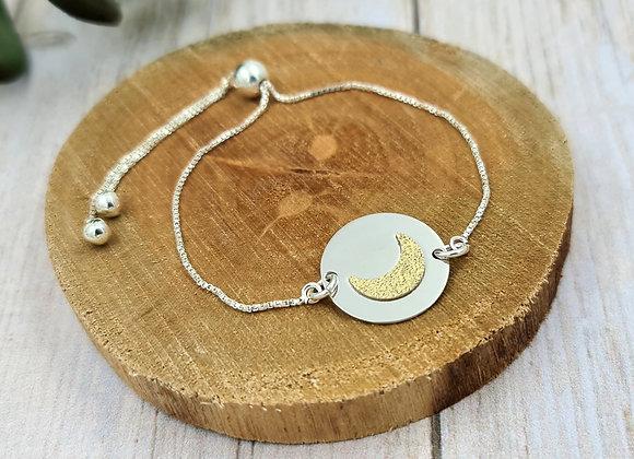 Bracelet chaîne fine argent 925 - cordon coulissant - intercalaire Lune