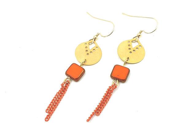 SHANI - Boucles gold filled et perle en verre de bohème orange