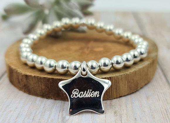 Bracelet argent 925 - perles 6mm -  étoile bombée 21mm