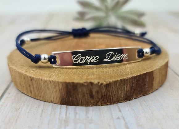 Bracelet cordon Femme  - intercalaire plaque/gourmette en argent