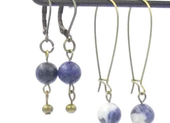 Nine -  Boucles d'oreilles Sodalite