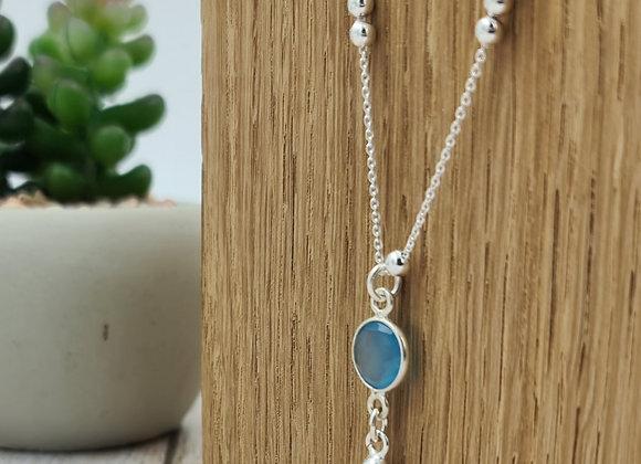 collier court maille perlée alternée- pendentif pierre fine