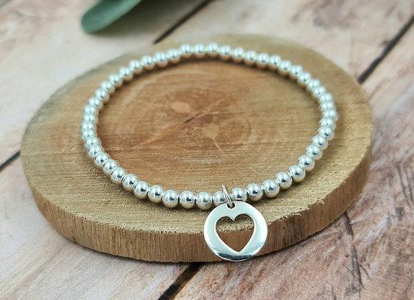 Bracelet argent - Perles 4mm - pendentif motif coeur