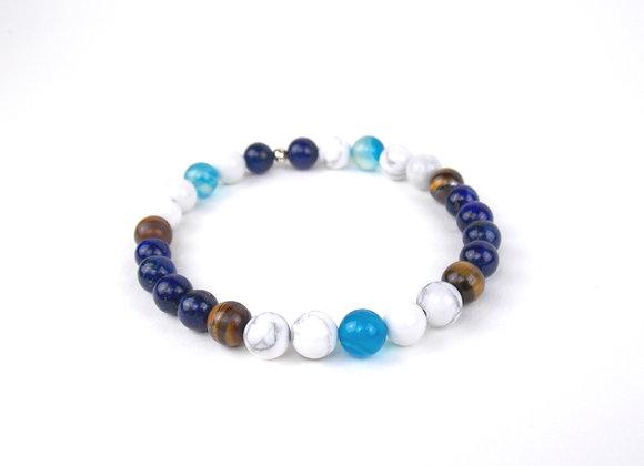For men only ! Bracelet Howlites , Lapis Lazuli, Oeil de Tigre