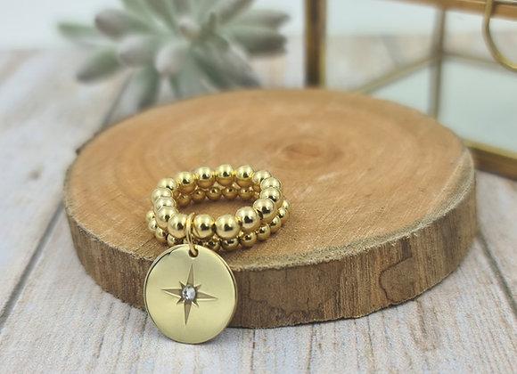 Bague gold filled 2 rangs (3 et 4mm) - pendentif étoile polaire et strass