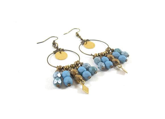 Eloha - Boucles bleu marbré et bronze