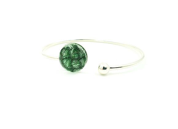 Bracelet jonc flexible argent 925 et cuir de saumon vert