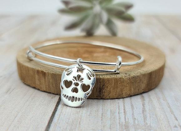 Bracelet argent - jonc et pendentif tête de mort calavera