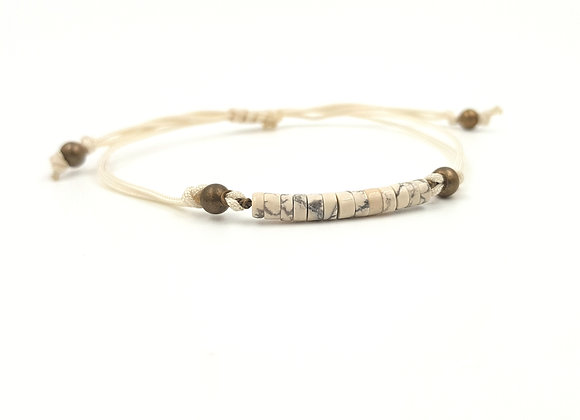 Bracelet cordon réglable et rondelles de Howlite