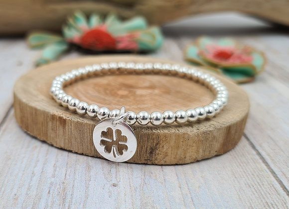 Bracelet argent - Perles 4mm - pendentif trèfle porte bonheur