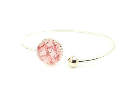 Bracelet jonc flexible argent 925 et cuir de saumon rose pastel