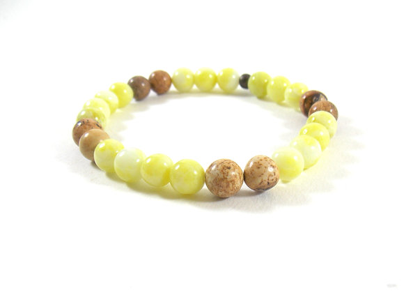 For men only ! Bracelet jades Citron et Jaspes