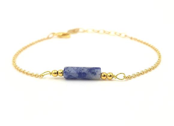 CALI bleu marbré -  Bracelet gold filled et perle cylindrique de Sodalite