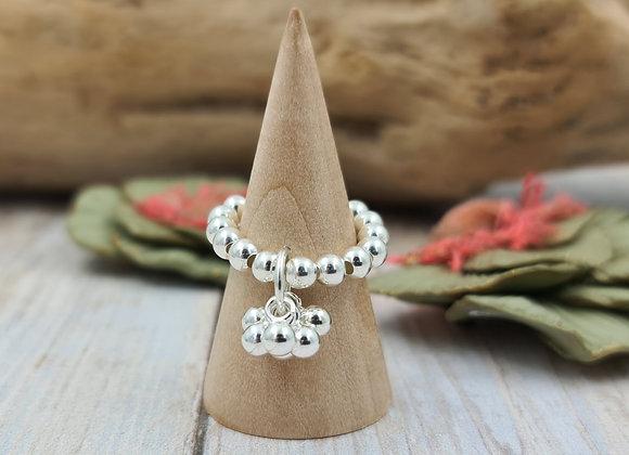 Bague perles 4mm argent 925 - grappe de perles