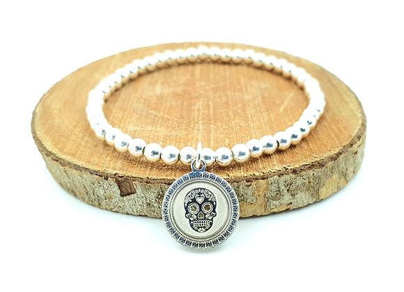 Bracelet argent - Perles 4mm - pendentif tête de mort