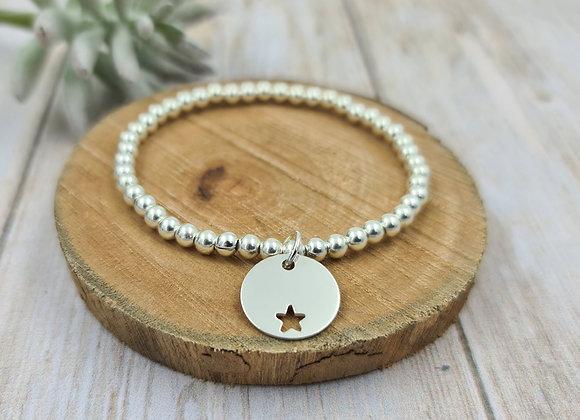 Bracelet argent 925 - perles 4mm -  étoile décalée 15mm