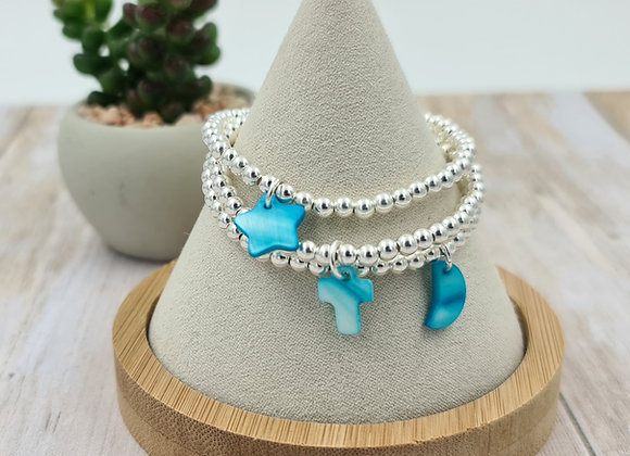 Bracelet argent - Perles 4mm - pendentif Nacre