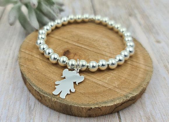 Bracelet argent 925 - perles 6mm -  petite fille