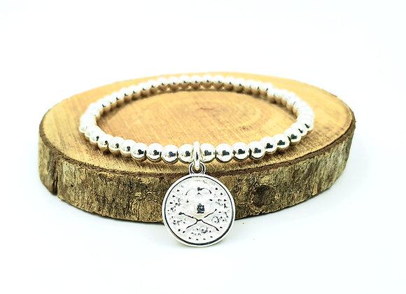 Bracelet argent - Perles 4mm - pendentif motif tête de mort