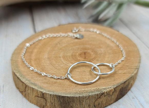 Bracelet chaîne fine argent 925 - anneaux entrelacés