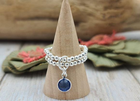 Bague double rang de perles 2,5mm en argent 925 - pendentif cristal swarovski