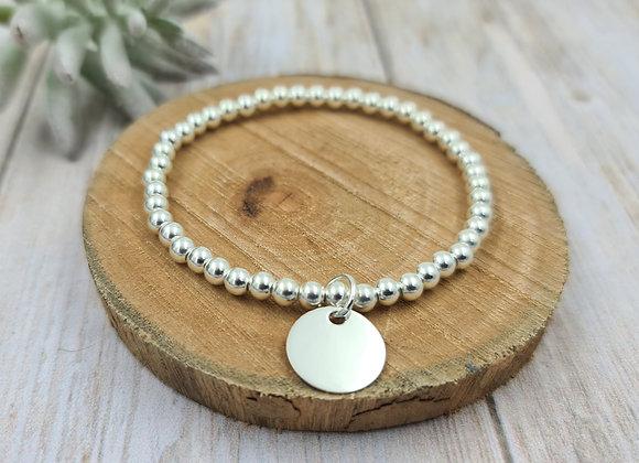 Bracelet argent 925 - perles 4mm - médaille 15mm