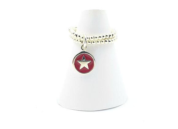 Bague argent 925 double rang et pendentif émail rouge motif étoile