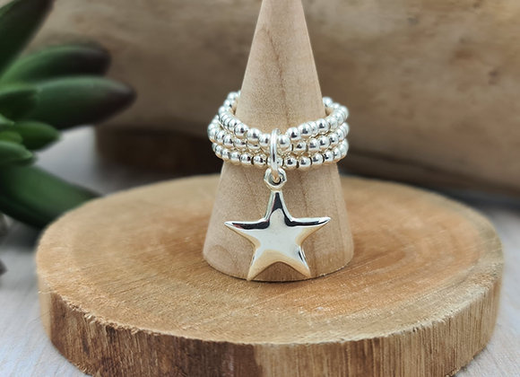 Bague argent 925 triple rang de perles 2,5mm- pendentif étoile pointue bombée