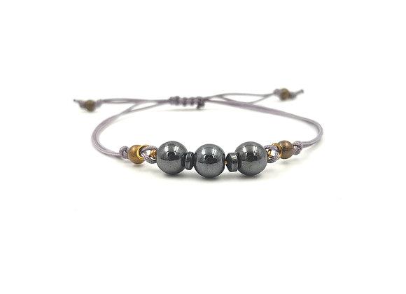 Bracelet cordon réglable et perles de'Hématites