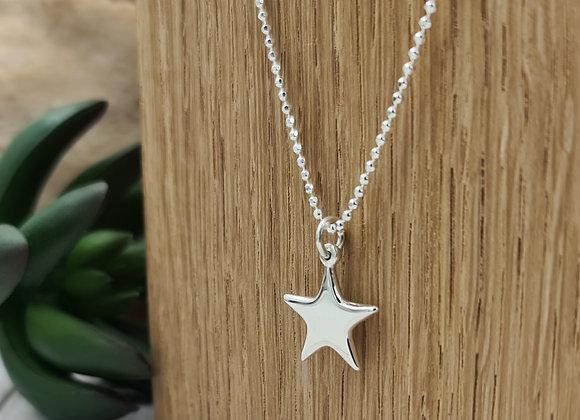 Collier court en argent 925 - pendentif étoile pointue bombée