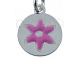 Bracelet cordon  - Pendentif fleur rose émaillée et argent 925