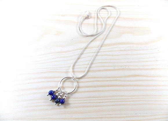 Collier argent 925 Gouttes de Lapis lazuli