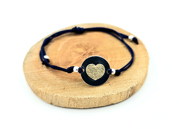 Bracelet cordon  - intercalaire bicolore motif coeur en argent