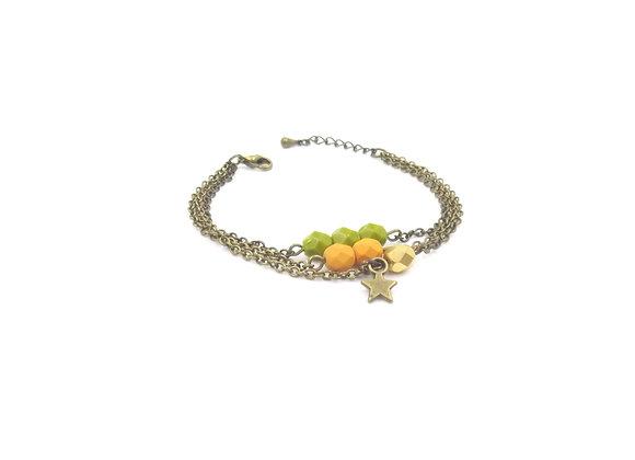 ESTRELLA - Bracelet triple chaîne vert anis et moutarde